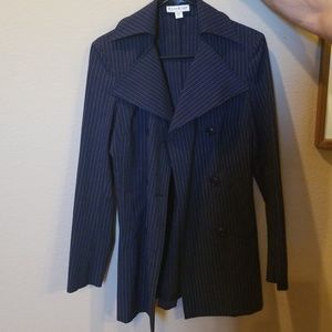 Longer striped blazer trenchcoat